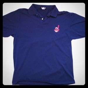 Velva Sheen large Mlb  Indians Chief Wahoo Polo